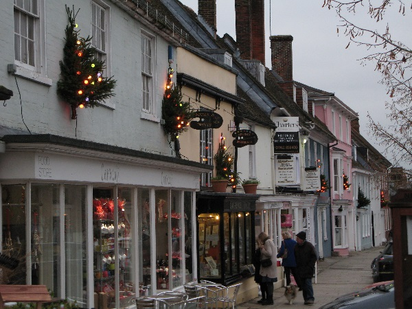 Christmas trees installed by the Alresford Pigs on Broad Street