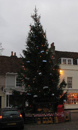 The big Christmas tree on Broad Street, New Alresford