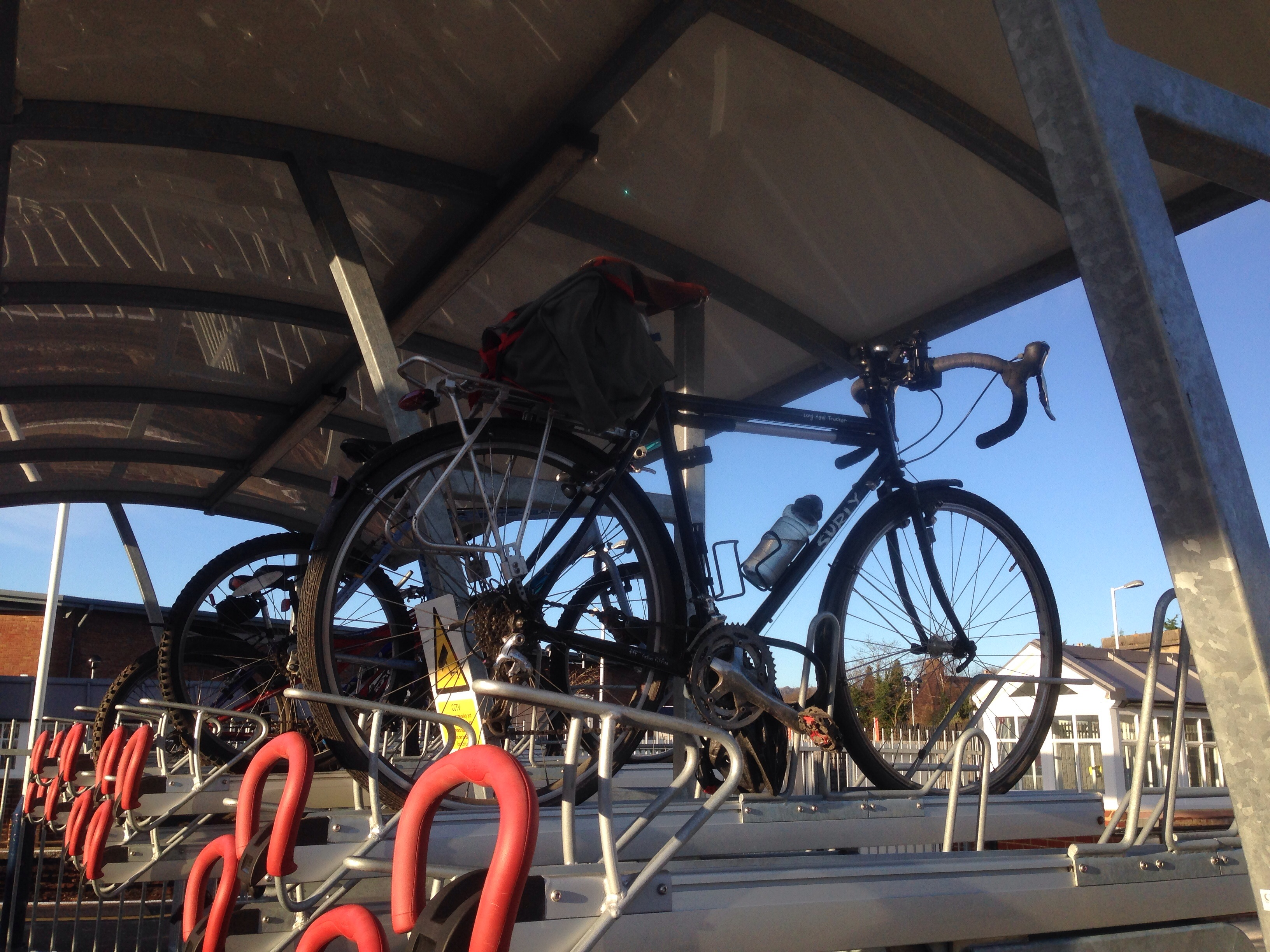 Couble decker cycle rack at Petersfield Station