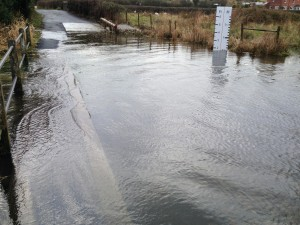 Ladycroft Ford 5 February 2014 - The footbridge is under water